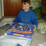 Braveheart Calum with the chemistry set he asked for :) Hope you have loads of fun making some cool experiments Calum x