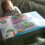 Braveheart Jayden with his cot mobile