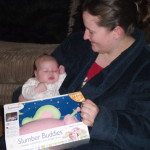 Braveheart Megan with mum after opening her special gift x