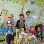 Sally from the Foundation giving lots of much needed Play Doh and other goodies to the Play Specialists in Ward 5A x